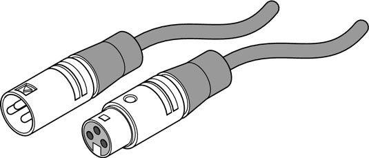 Ein XLR-Anschluss: Ein Ende ist männlich (links) und das andere ist weiblich (rechts).