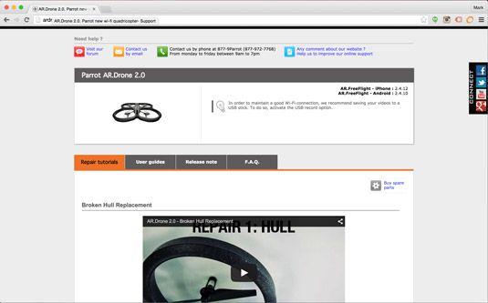 Hier finden Sie Hilfe mit Ihrem Parrot AR Drone 2.0 online.