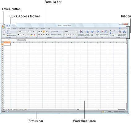 Das Excel 2007-Programmfenster, das erscheint, wenn Sie das Programm starten.