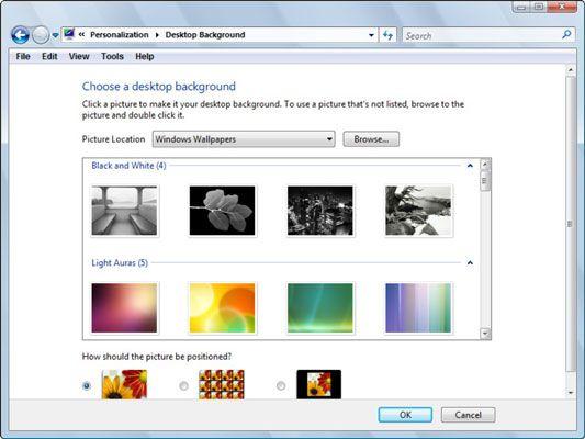 Der Desktop-Hintergrund-Dialogfeld.