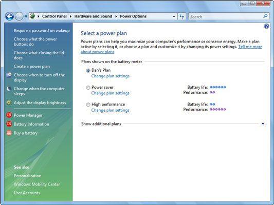 Verwenden Sie die Registerkarte Energieschemas in Windows XP um Energie zu sparen.