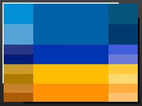 Blau und orange sitzen einander gegenüber auf dem Farbrad.