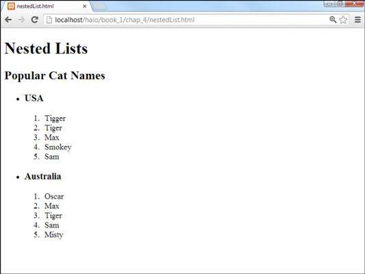 ���� - So erstellen Sie verschachtelte Listen für HTML5 und CSS3 Programmierung