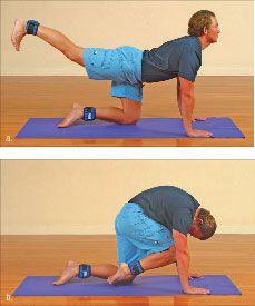 ���� - Wie wird die Yoga-mit-Gewichte Cat Übung zu tun