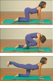 ���� - Wie wird die Yoga-mit-Gewichte Kuh zu Cat Übung zu tun