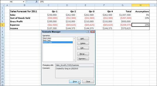 Verwenden Sie den Szenario-Manager hinzuzufügen, und wechseln Sie in verschiedenen Szenarien in Ihrem Arbeitsblatt.