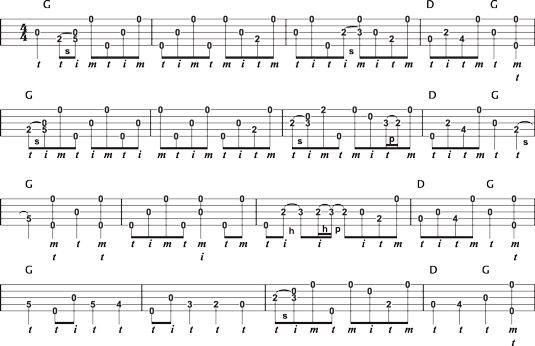 """Fiddle & # 8208-tune-Backup in der Tonart G für & # 147-Sally Goodin'.""""-"""