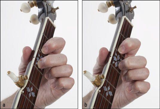 Abspielen einer dritten & # 8208-string Pull & # 8208-off: (a) Positionieren der Reibverschleiß & # 8208 Hand Finger und (b