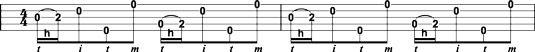 Spielen dritte & # 8208- und vierten & # 8208-string Hammer & # 8208-ons mit dem Wechsel Daumen Rolle.