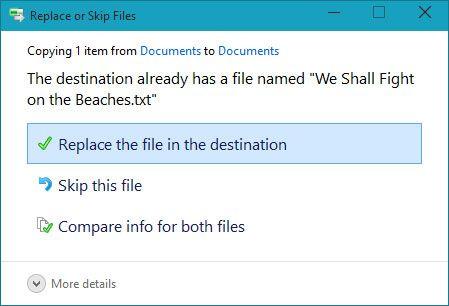 Wählen Sie, ob die vorhandene Datei zu ersetzen, überspringen Sie die Datei, oder wählen Sie die Datei zu halten.