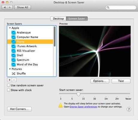 ���� - So richten Sie einen Bildschirmschoner in Mac OS X Lion up