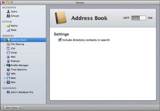 ���� - So richten Sie Serveradressbuch auf Lion