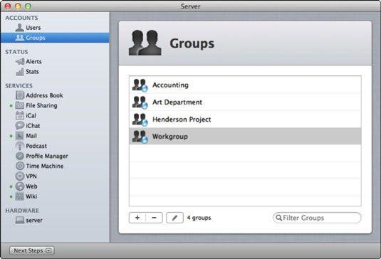 ���� - Wie Einrichten und Verwalten von Gruppen-Accounts mit dem Server App in Lion Server