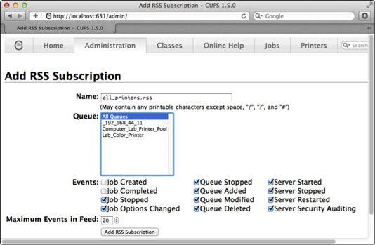 ���� - So richten Sie RSS-up-Druck-Servern mit Lion Server CUPS-Monitor