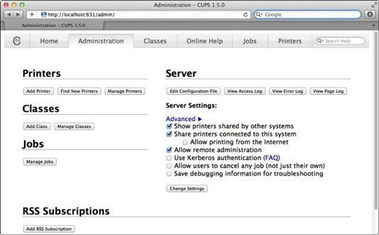 ���� - Wie Drucker mit Lion Server des CUPS-Schnittstelle zu teilen