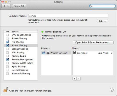 ���� - Wie Drucker mit Lion Server die Systemeinstellungen zu teilen