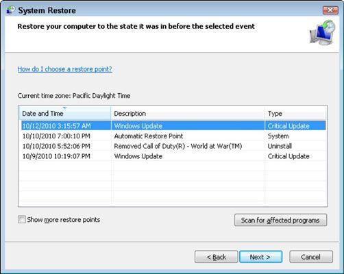���� - So verwenden Sie die Systemwiederherstellung in Windows 7 und Vista