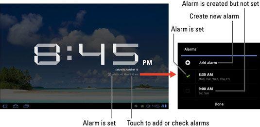 ���� - Wie die Wecker auf Ihrem Galaxy Tab verwenden