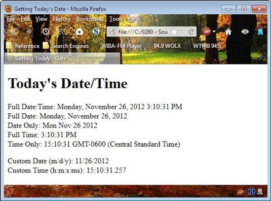 ���� - Wie Sie das Datum-Objekt zu verwenden javascript mit HTML zu integrieren