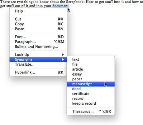 ���� - Wie Sie das Word 2008 für Mac Thesaurus Verwenden