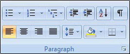 Absatzformatierung Befehle auf der Registerkarte Start.