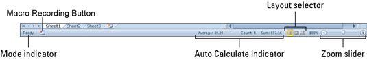 Anzeigen und Ändern der Einstellungen (wie Zoom und dem Arbeitsblatt-Ansicht) in der Statusleiste.