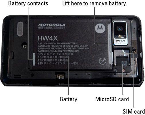 ���� - Installieren Sie Ihre Droid Bionic der SIM-Karte und Akku