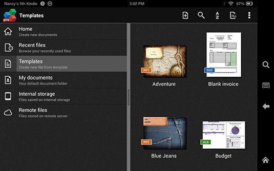 ���� - Kindle Fire HDX: Arbeiten mit Vorlagen in Officesuite Pro