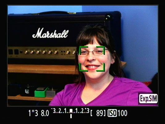 ���� - Live-Modus Gesichtserkennung Einstellungen auf einer Canon EOS 60D