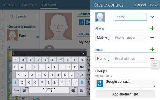 ���� - Fügen Sie Kontakte manuell auf die Registerkarte 4 NOOK Kontakte App