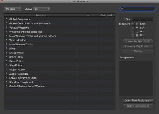 ���� - Navigieren mit Logic Pro X Tastaturbefehle