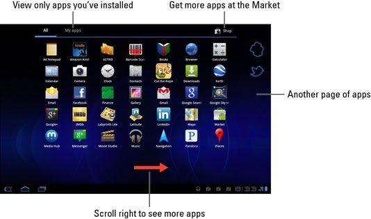 ���� - Überblick über die Apps-Menü auf dem Samsung Galaxy Tab Home Screen