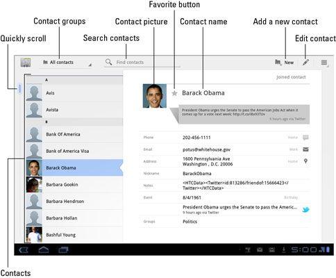 ���� - Übersicht über die Kontakte-App auf dem Samsung Galaxy Tab