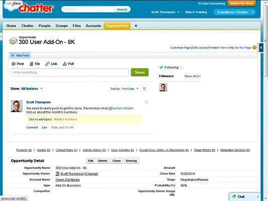 Chatter bietet auf Aufzeichnungen in Salesforce.com CRM sozialen kommentieren.