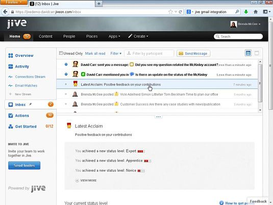 Der Jive Posteingang zeigt Nachrichten und Benachrichtigungen an Sie gezielt angesprochen.