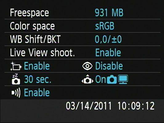���� - Die Kamera-Einstellungen Anzeige auf einer Canon EOS Rebel T3 Serie Kamera