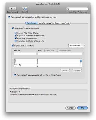 ���� - Mit Autokorrektur in Office 2008 für Mac