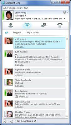 ���� - Arbeiten Sie mit Ambient Activity-Feed in Lync Online