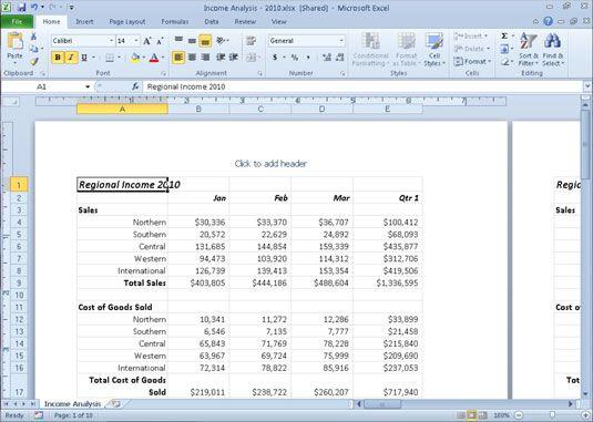 ���� - Arbeiten in Excel 2010 Seite Layout-Ansicht