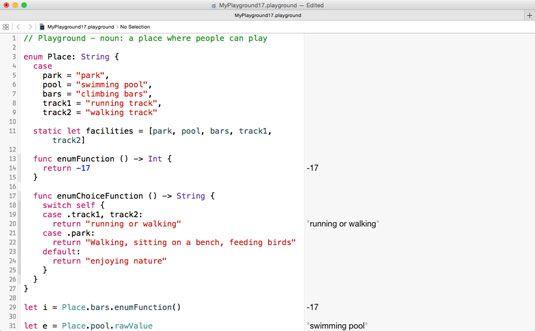 ���� - Arbeiten mit einer Funktion innerhalb eines Swift-Enumeration