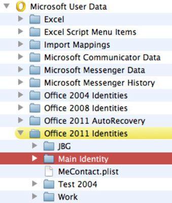 ���� - Arbeiten mit Outlook-Identitäten in Office 2011 für Mac