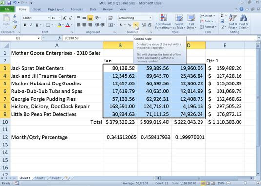 ���� - Arbeiten mit dem Comma Stil in Excel 2010