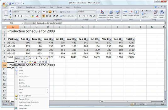 ���� - Arbeiten mit dem Excel 2007 Mini-Toolbar